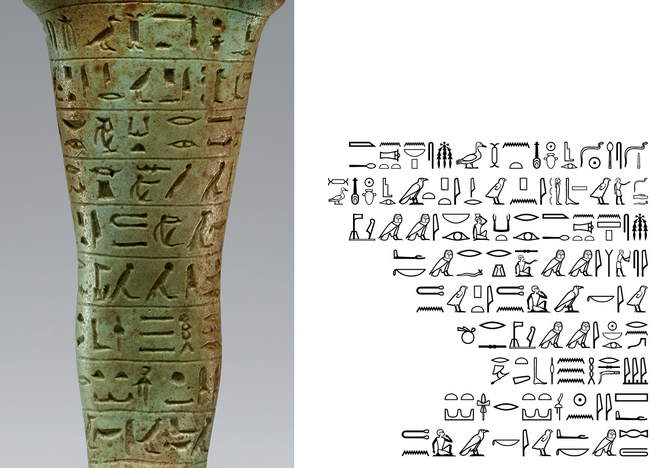 Left, close up of hieroglyphics, symbols of birds and people on a green statue; right, black hieroglyphics on a white background