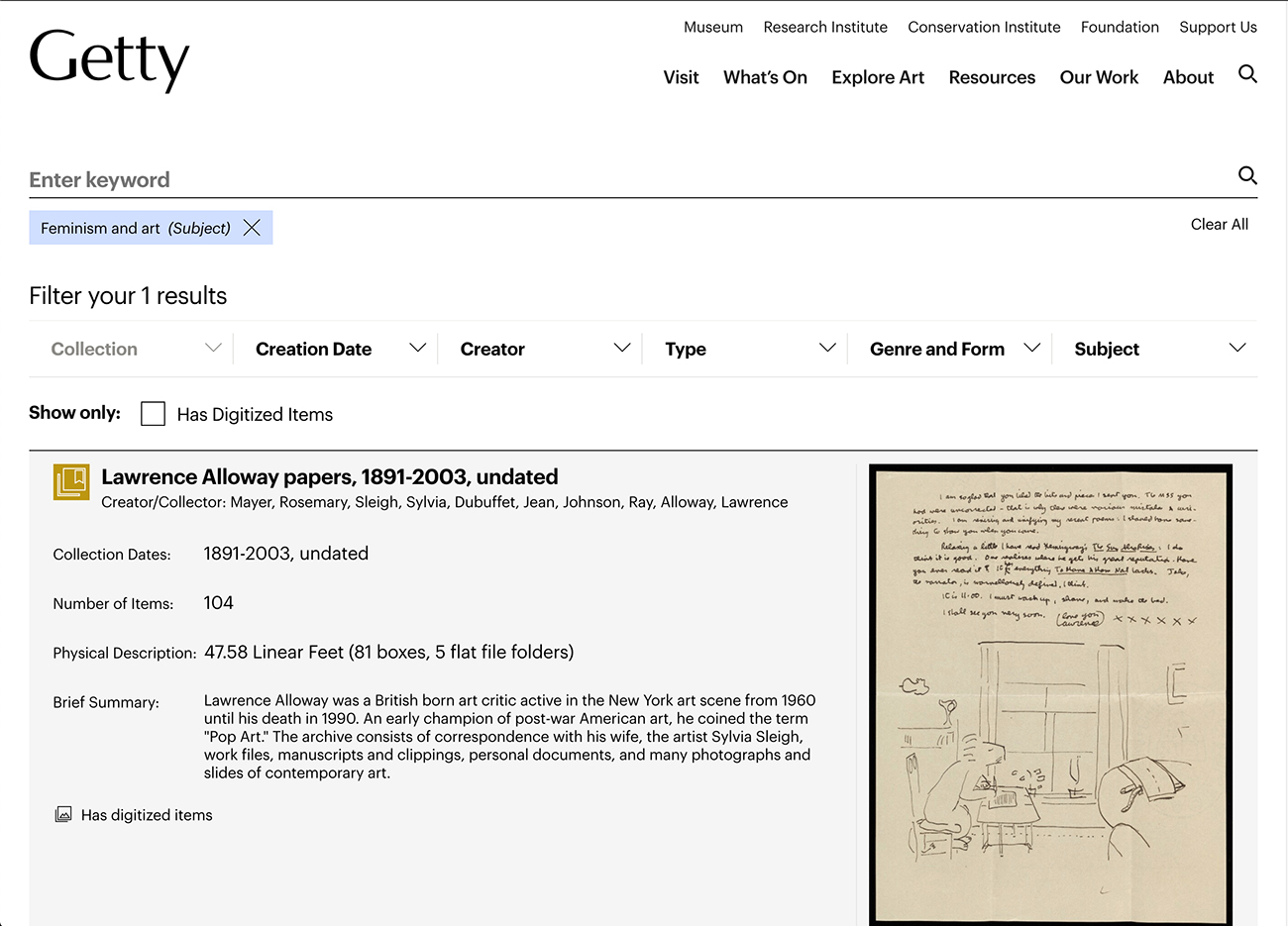 Screen capture showing an archival document with a letter and sketch from the Getty archives