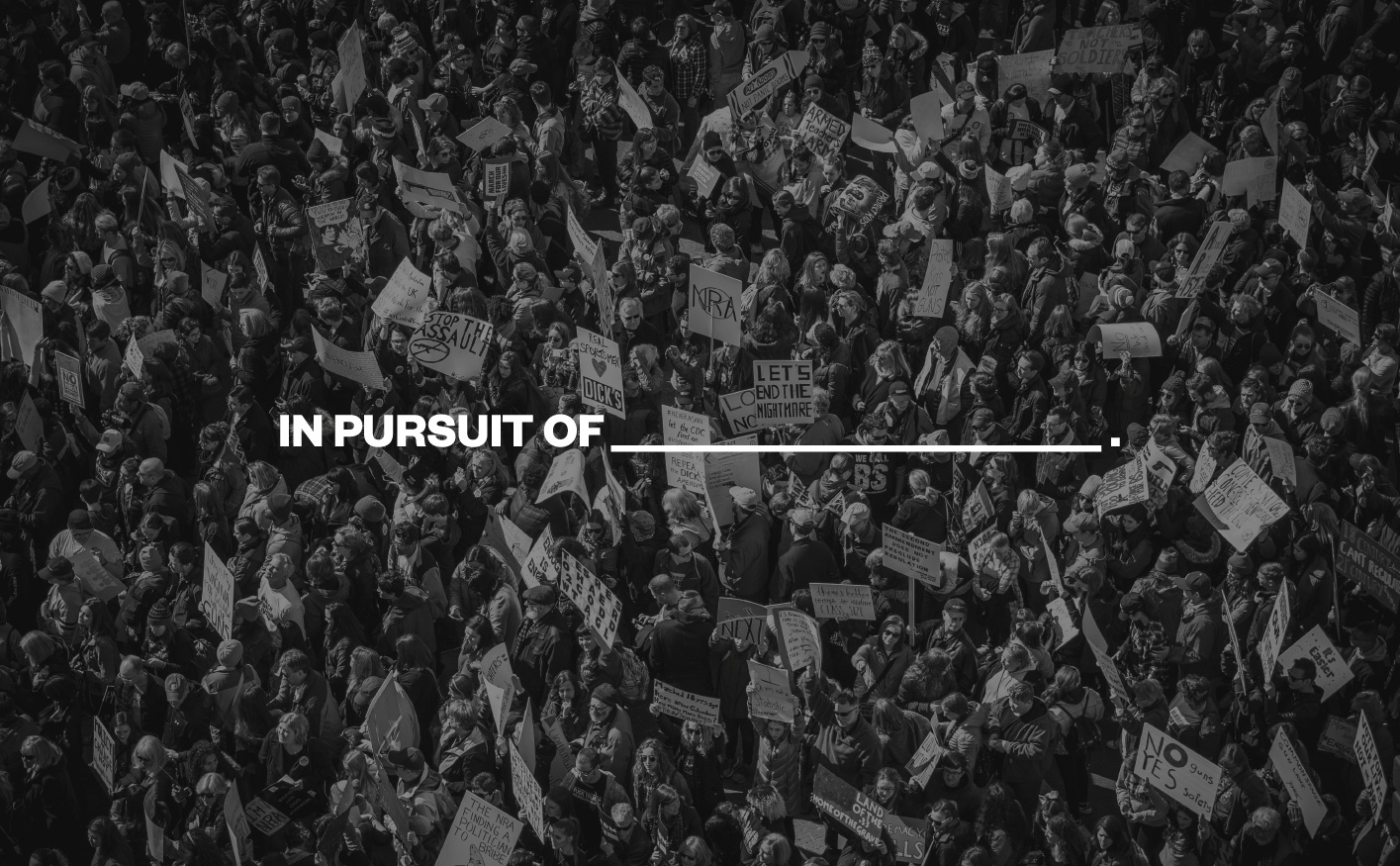 black and white image of crowd with protest signs