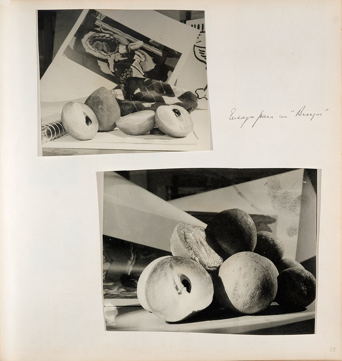 Two black and white images of cut fruit sitting on an open notebook