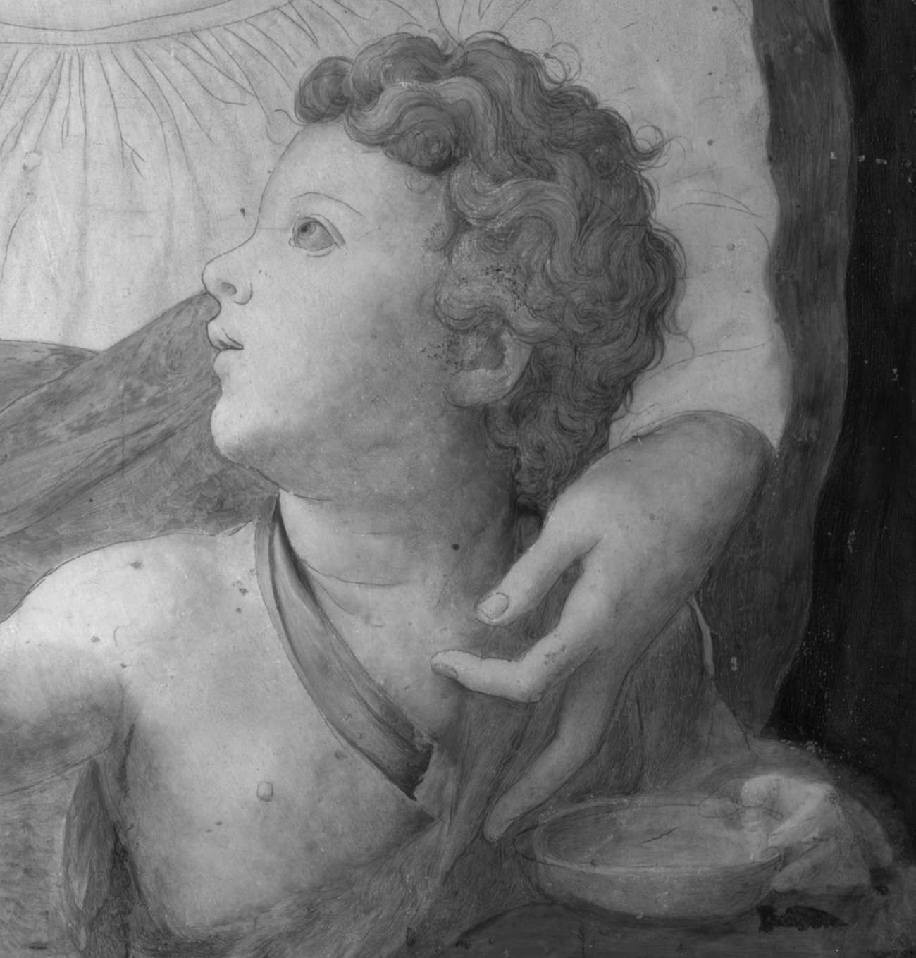 Black and white close-up of the child from the painting with curly hair