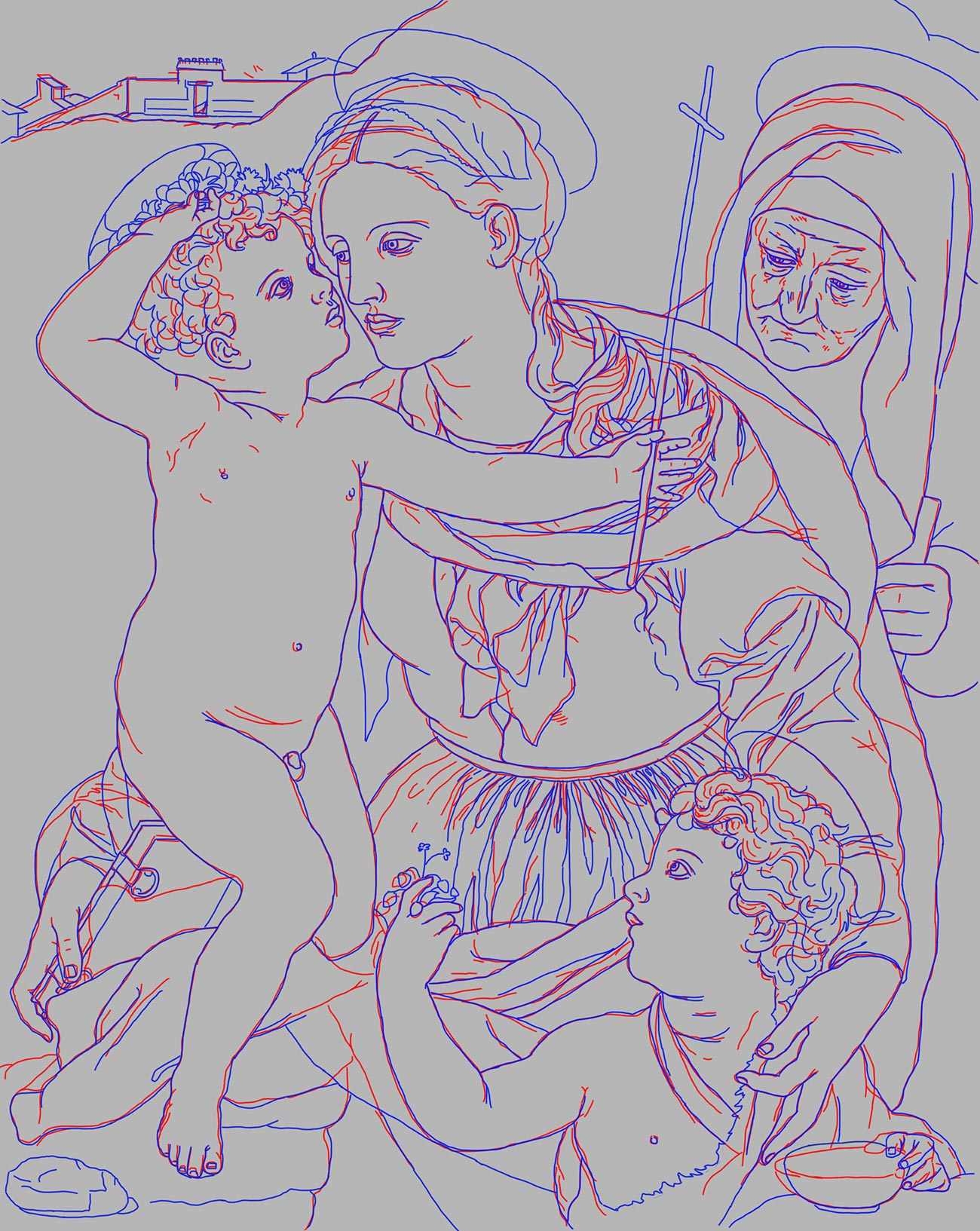 Outline of the painting made with red, blue, and purple lines