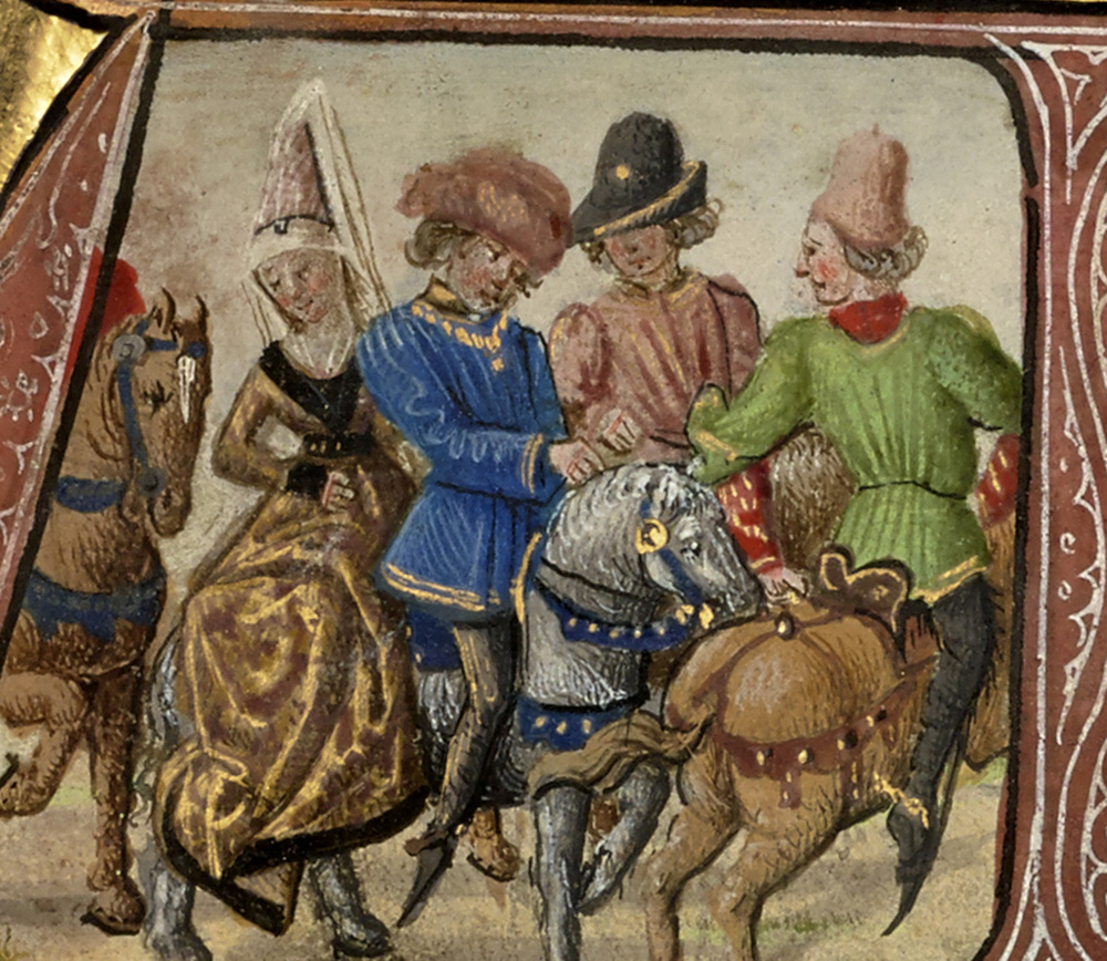 Illuminated drawing of men on horseback, with one woman wearing a pointed hat with veil on the horse behind one of the men