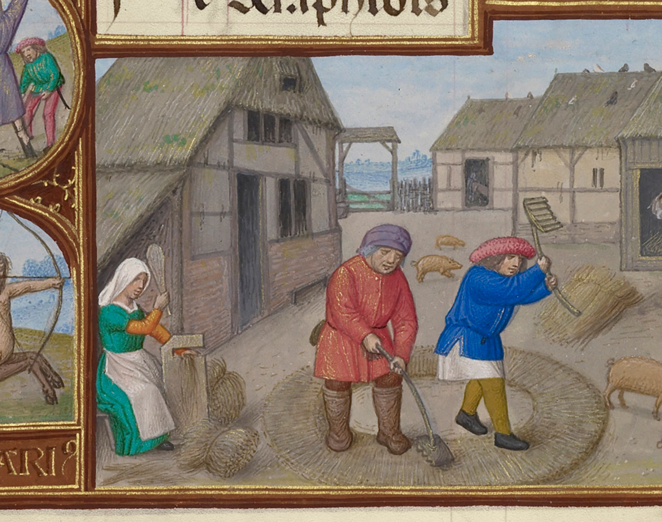 Two men and a woman thresh wheat in a courtyard surrounded by thatched roof homes