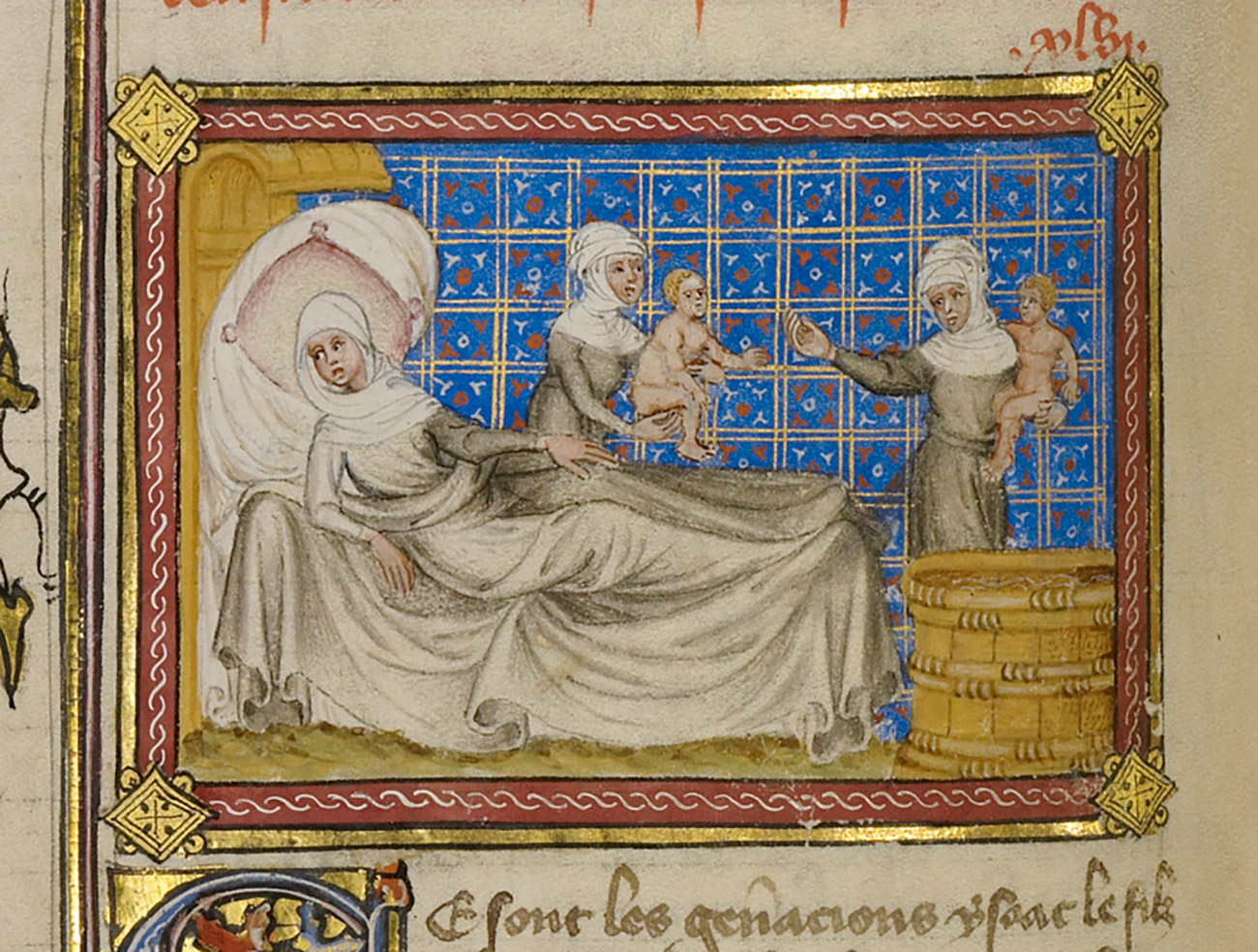 Illuminated drawing of woman wrapped in robes lying on a bed, whole two other women each carry babies to a tub of water