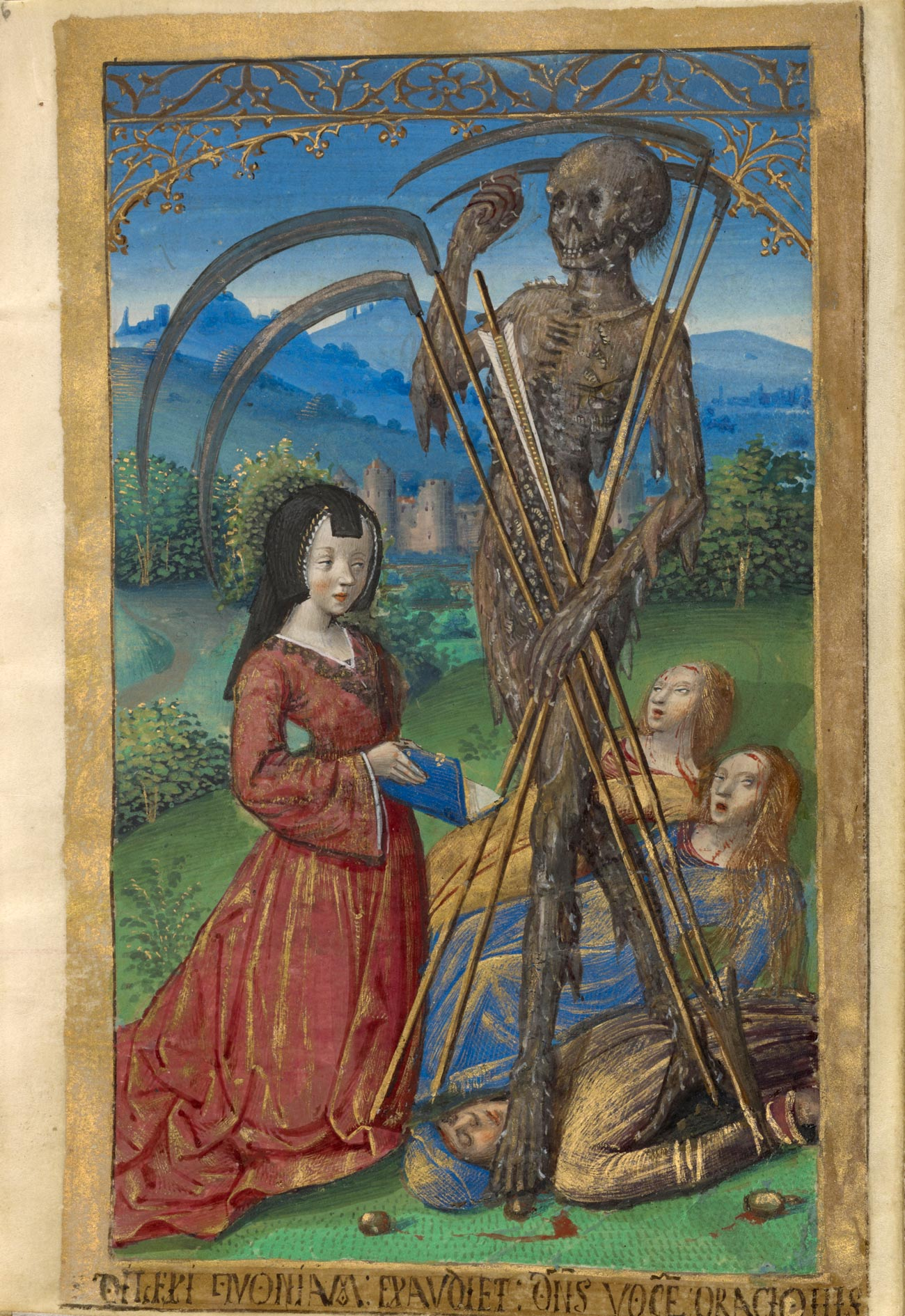 Girl in red dress holds an open book in front of a tall skeleton, holding four scythes, with two other women cowering in fear and a man lying dead on the ground