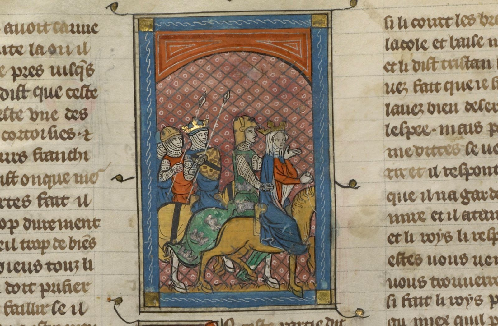 Illuminated drawing of medieval knights on horseback, with one woman riding on a horse in front of a knight