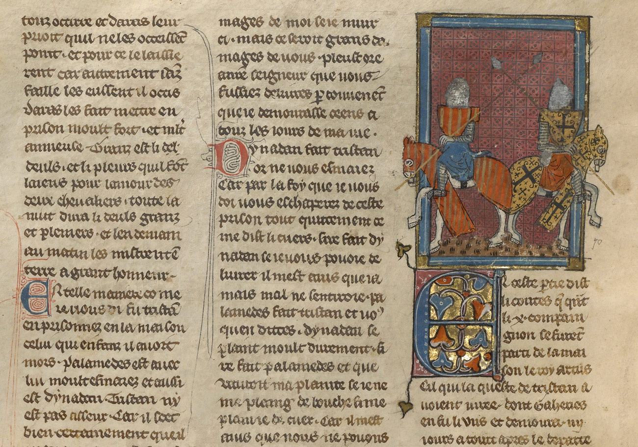 Page from manuscript featuring columns of script with an illuminated drawing of two knights on horseback
