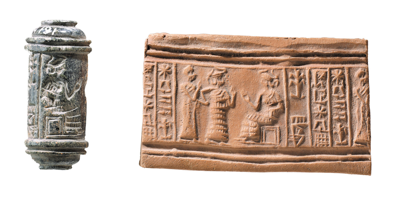 Gray cylinder with pictures of people and symbols carved into it; an image of a brown piece of clay featuring the same image etched into the clay that is featured on the cylinder