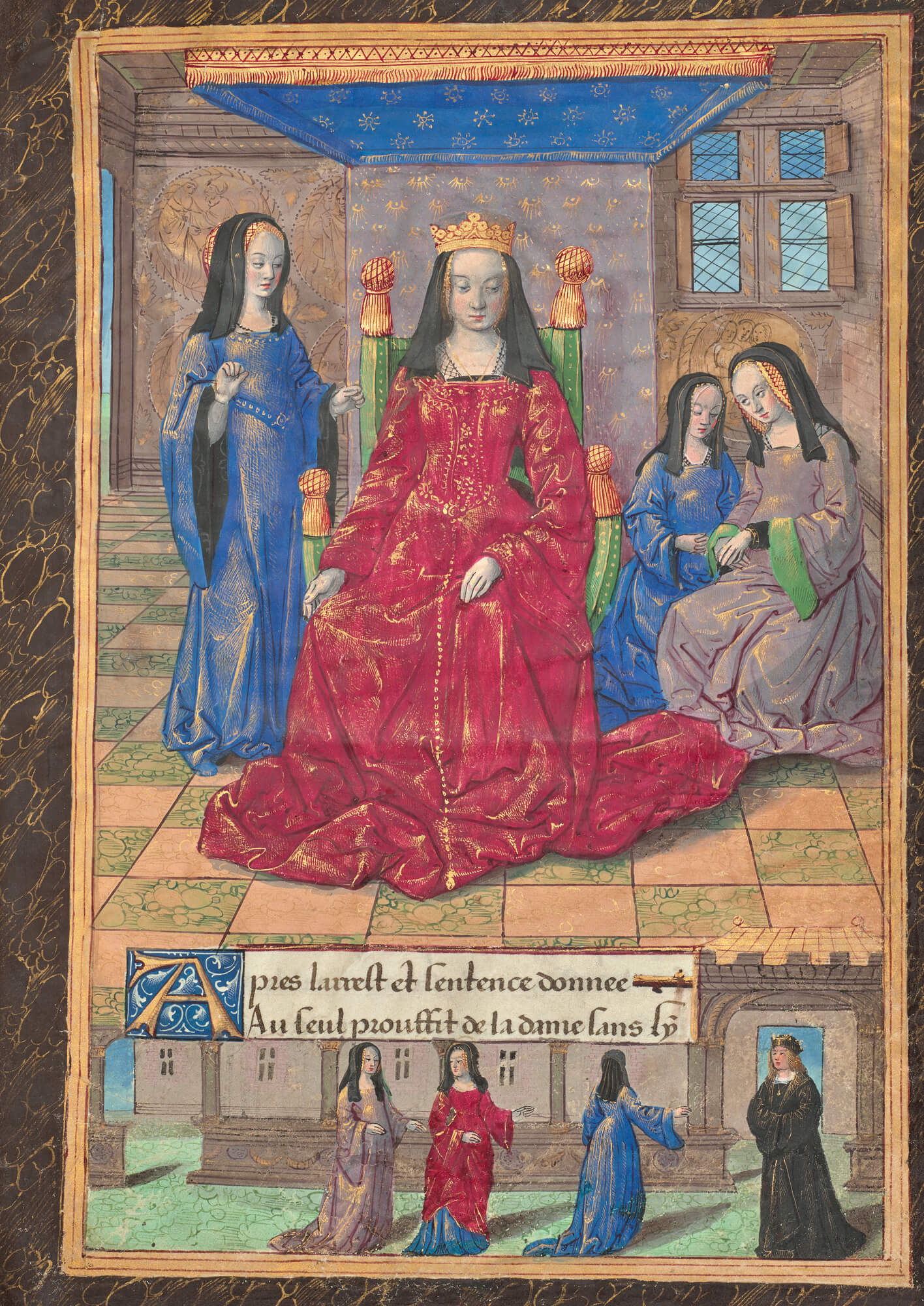 Woman wearing red dress and crown sitting on a throne surrounded by ladies in waiting