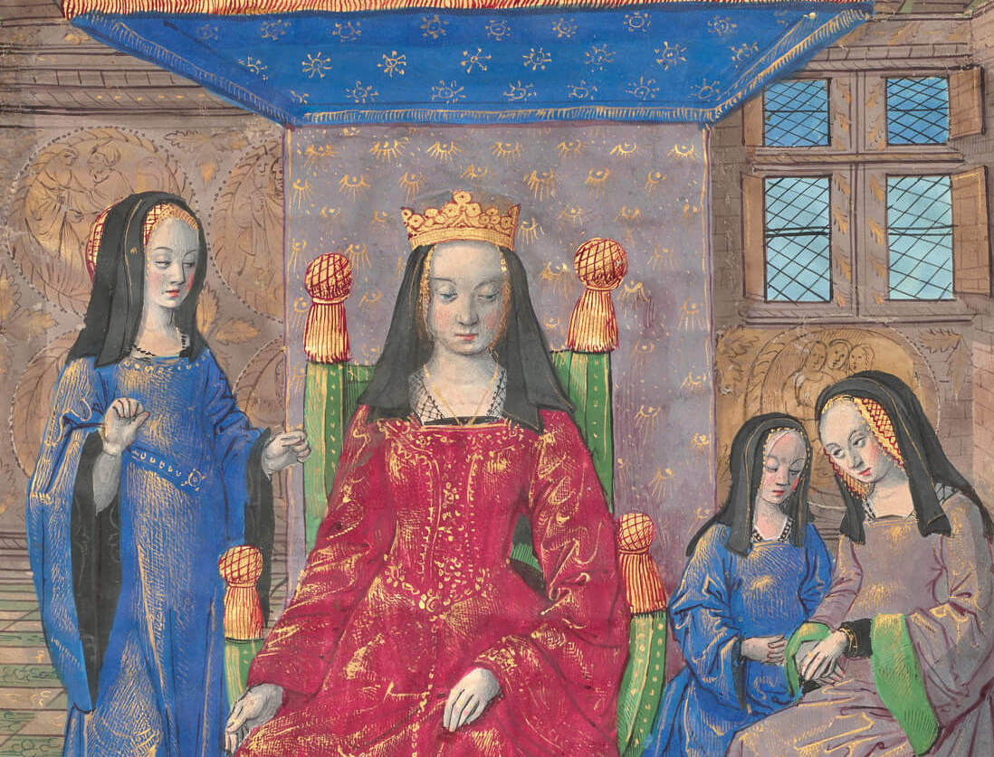 Close-up view of drawing of queen on a thrown, surrounded by three ladies in waiting