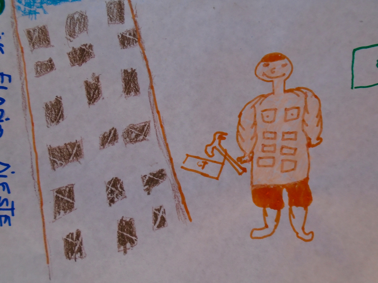 Child's drawing of a person with bricks for ab muscles, he holds a hammer.
