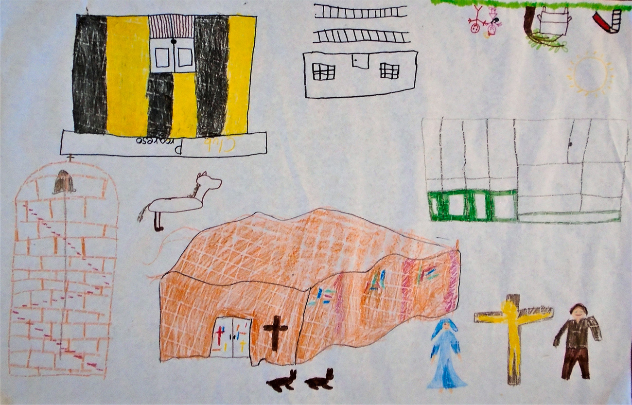 Child's drawing of the Cristo Obrero church, a playground, a nun and a horse