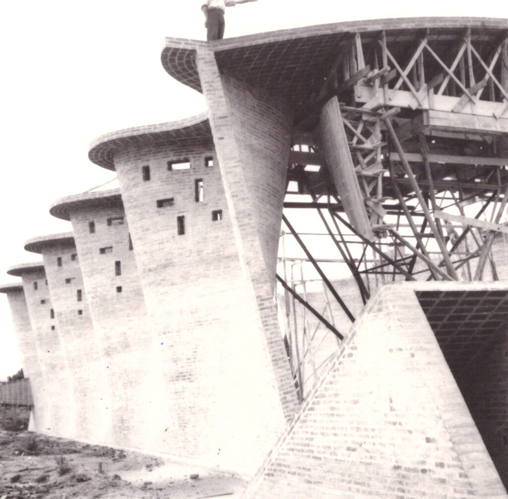 Historic photo of the church under construction