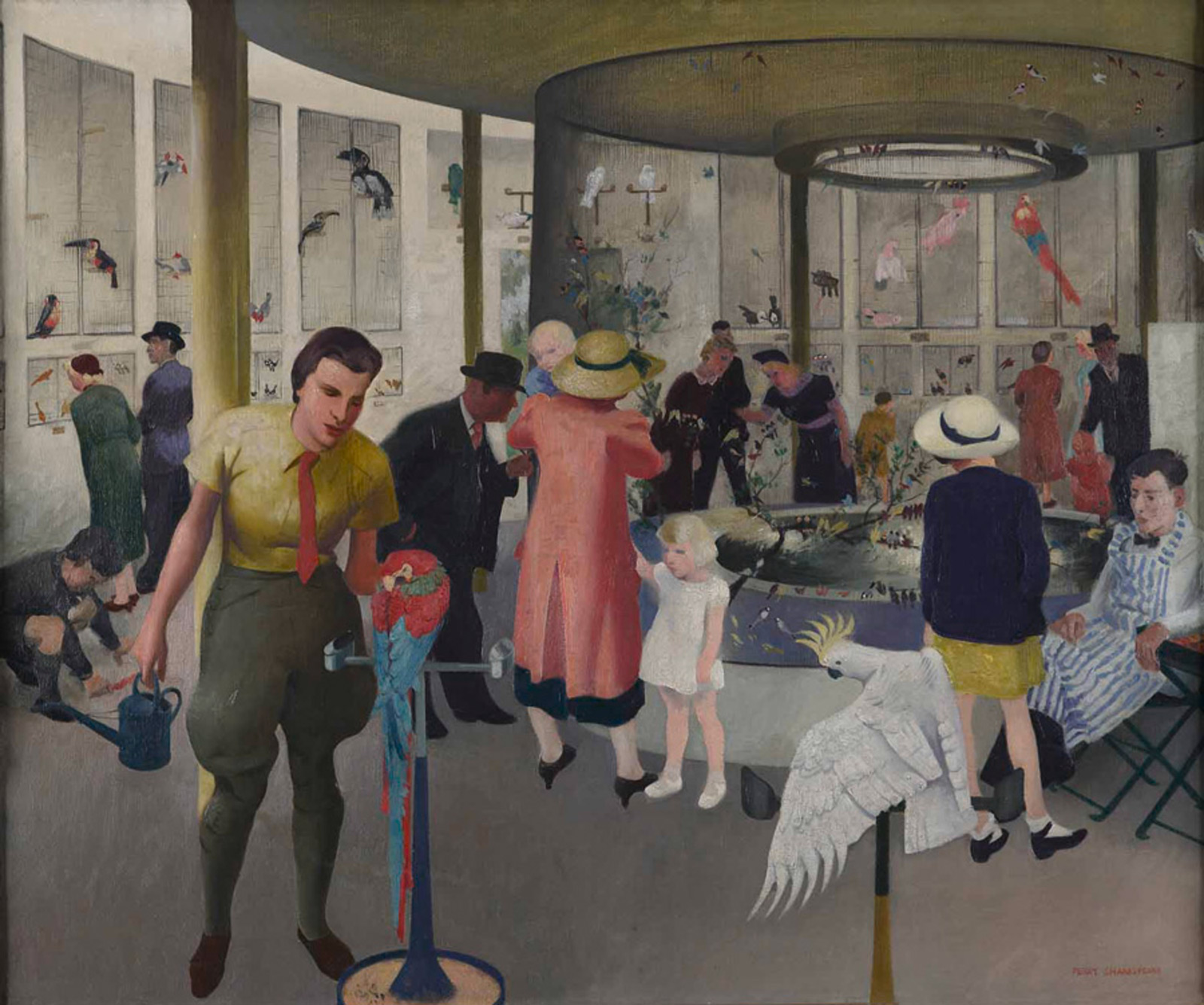Painting of visitors to a bird house at the Dudley Zoo. People in colorful hats and clothes intermingle with exotic birds