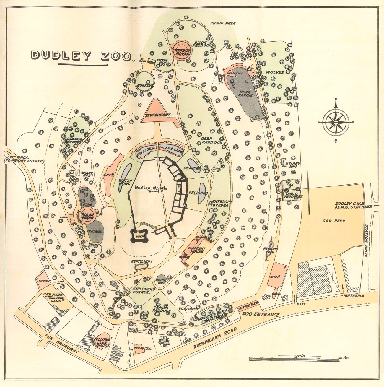Hand drawn map of the Dudley Zoo