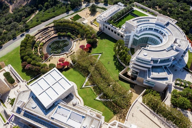 Aerial view of Getty Garden