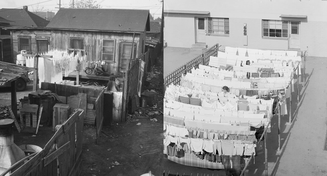 Left, shanty town buildings with laundry hanging in front; right, rows of neat laundry hang on lines in front of a modern building.