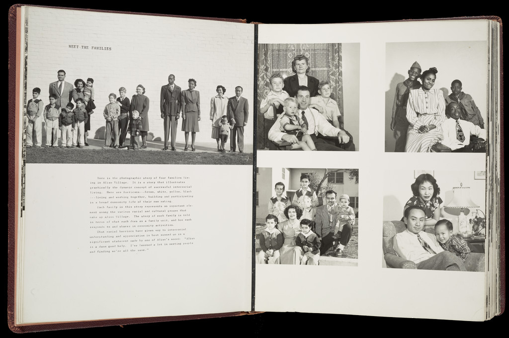 Open pages of Aliso Village, USA that include text and portraits of four families