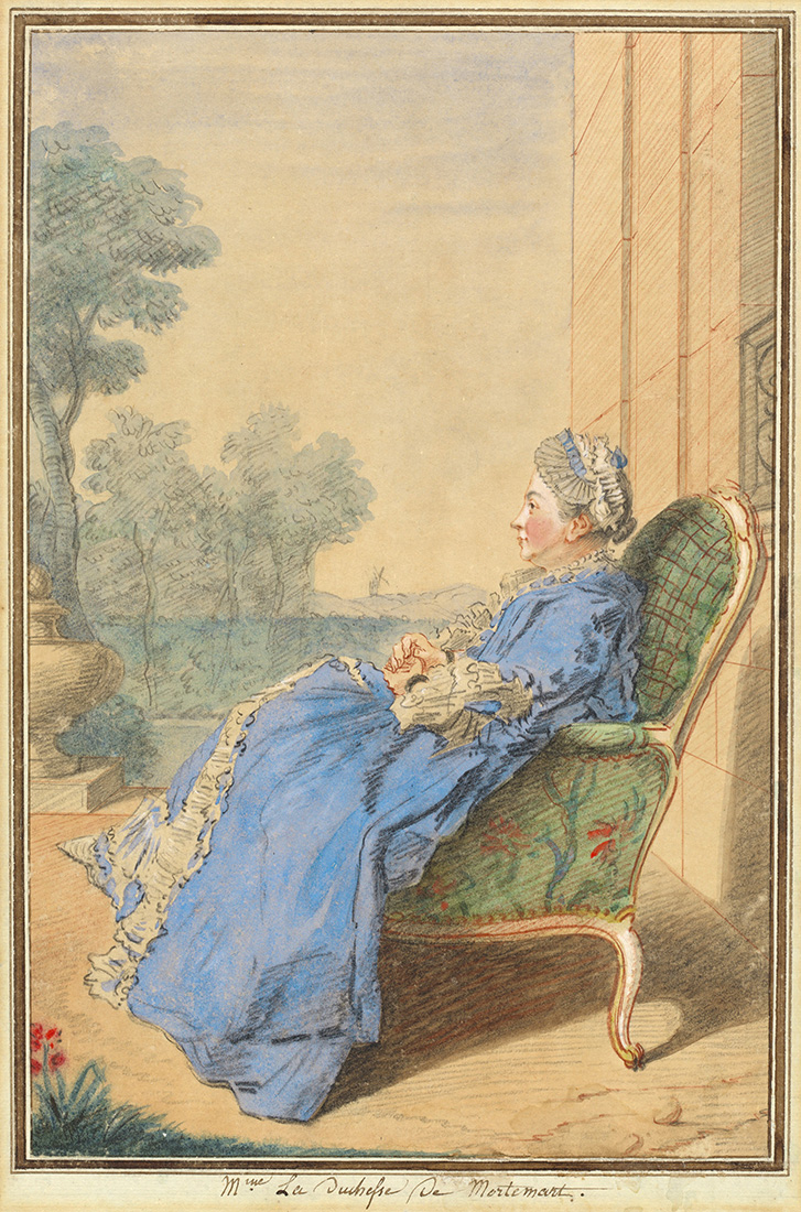 Painting of a woman in a blue dress leaning back into an elegant chair